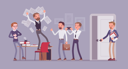 Office fun in the workplace. Colleagues, happy employees enjoy chaos at work, clerk humor and silly behavior, boss or manager angry with official misconduct. Vector flat style cartoon illustration