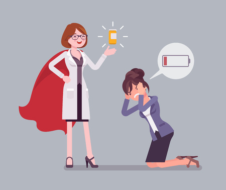 Doping for female clerk. Office worker exhausted with routine, worn out, weary, at power limit and zero productivity getting drug from doctor to raise strength. Vector flat style cartoon illustration