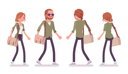 Young red-haired man and woman walking. Caucasian boy and girl with ginger hair, wearing urban jacket and accessories, enjoy a walk. Vector flat style cartoon illustration, front and rear view