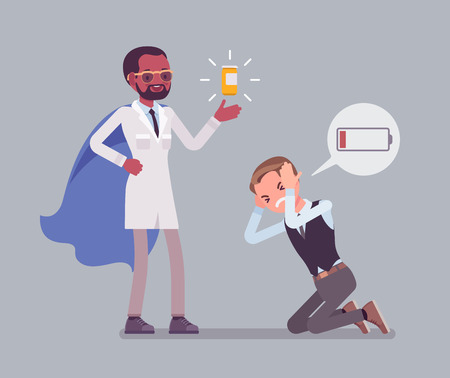 Doping for male clerk. Office worker exhausted with routine, worn out, weary, at power limit and zero productivity getting a drug from doctor to raise strength. Vector flat style cartoon illustration Illustration