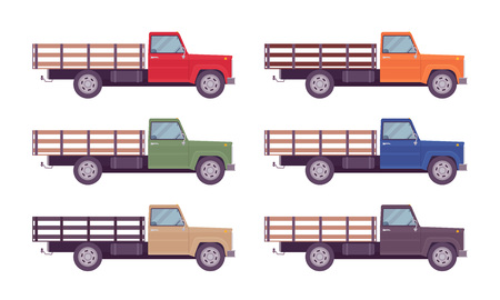 Empty truck in bright colors. Vehicle to transport large amounts of cargo, open car for carrying goods and materials. Vector flat style cartoon illustration isolated on white background, side view