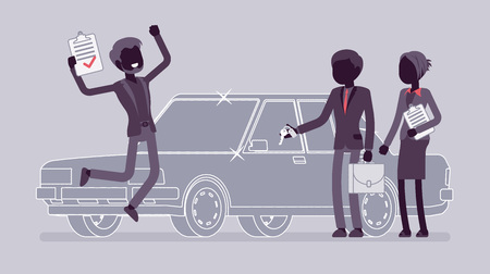 Car loan approved. Man exited with bank authorization, customer, agents after document acceptance, jumping with joy, get new auto. Vector flat style and line art cartoon illustration, black silhouette