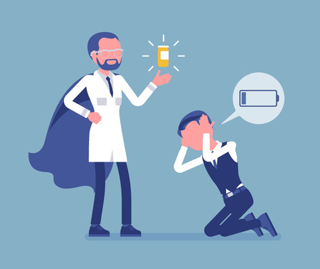 Doping for male clerk. Office worker exhausted with routine, worn out, weary, at power limit, zero productivity getting a drug from doctor to raise strength. Vector illustration, faceless characters