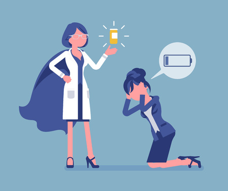 Doping for female clerk. Office worker exhausted with routine, worn out, weary, at power limit, zero productivity getting drug from doctor to raise strength. Vector illustration, faceless characters