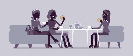 Girls enjoy friendly dinner in cafe. Meeting between female coworkers, business lunch in restaurant, friends chatting, have meal. Vector flat style and line art cartoon illustration, black silhouette