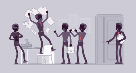 Office fun in the workplace. Colleagues, happy employees enjoy chaos at work, clerk humor, manager angry with official misconduct. Vector flat style and line art cartoon illustration, black silhouette
