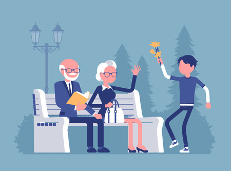 Grandparents and grandson in park. Happy retired elderly people meet with grandchild, being friends and have good relationship, enjoy outdoor time together. Vector illustration, faceless characters