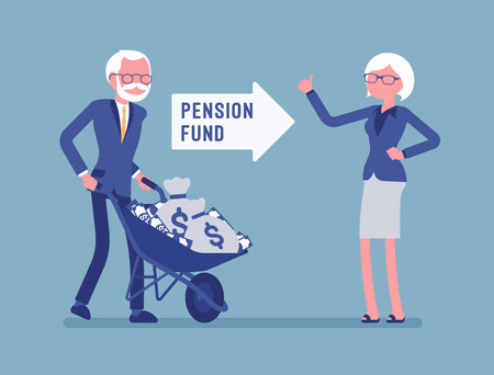 Pension fund investment. Old man pushing money cart, financial system for senior citizen to get help from government, guaranteed support and social security. Vector illustration, faceless characters