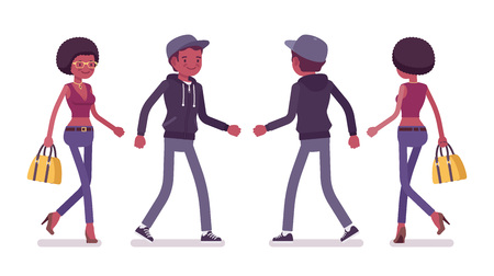 Young black man and woman walking. Millennial boy in dark zip hoodie, cap and attractive girl with afro hair going at study or work. Vector flat style cartoon illustration, front and rear view