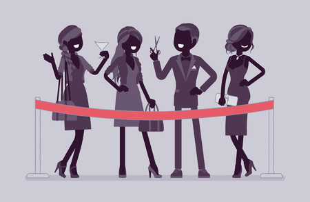 Cutting red ribbon ceremony. Group of elegant people at official opening event, business beginning, formal public occasion, party. Vector flat style and line art cartoon illustration, black silhouette 向量圖像