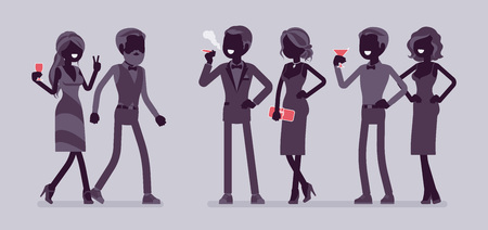 High society party. Group of rich, powerful, fashionable people in evening dresses enjoy life at luxury party, wealth elite club. Vector flat style and line art cartoon illustration, black silhouette