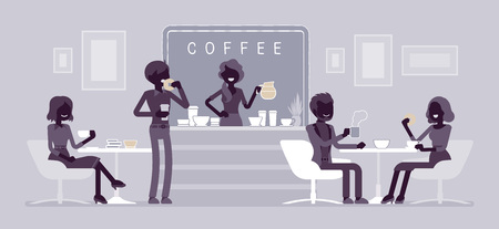 Cafe shop and people relaxing. Modern place to meet, drink and eat, chat, have a rest, enjoy free time, barista girl makes coffee. Vector flat style and line art cartoon illustration, black silhouette