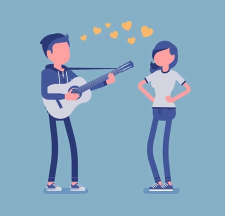Serenade dating couple. Young man in love singing a romantic song and playing guitar for his beloved woman, entertains pretty girlfriend, nice love expression. Vector illustration, faceless characters Illustration