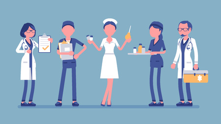 Doctors and nurses set. Smiling people in hospital uniform busy with clinic work, attractive, skilled practice, full length. Medicine and healthcare concept. Vector illustration, faceless characters