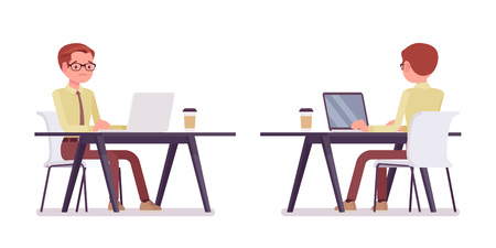 Male clerk working with laptop. Young man, employee performing data processing, writing letters, documents. Business and office jobs concept. Vector flat style cartoon illustration, front, rear view Ilustracje wektorowe
