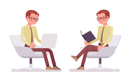 Male clerk sitting and working. Young man mailing and filing correspondence at laptop, reading a book in a comfy armchair. Business and office jobs concept. Vector flat style cartoon illustration