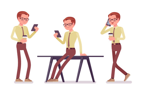 Male clerk with gadgets. Young man, employee answering calls, interacts with clients by phone, performing essential duties. Business and office jobs concept. Vector flat style cartoon illustration