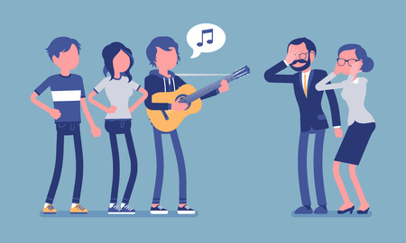 Annoying music conflict. Group of young people with guitar and middle aged people in stress with loud noise, modern singing makes angry, irritate parents. Vector illustration with faceless characters Illustration