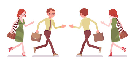 Male and female clerk running. Young man and woman, employee busy with message delivery, errands, hurry at work. Business, office jobs concept. Vector flat style cartoon illustration, front, rear view Ilustração