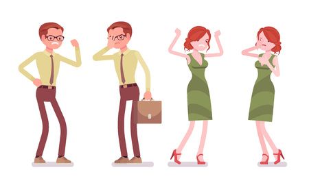 Male and female clerk negative emotions. Unhappy young man and woman, miserable employee, overworking, feels monotonous. Business and office jobs concept. Vector flat style cartoon illustration