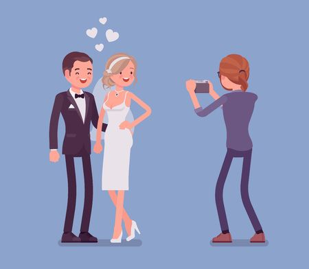Newlywed and photographer. Guy takes photographs on a wedding day ceremony, married young man and woman, happy new couple posing before professional camera. Vector flat style cartoon illustration Illustration