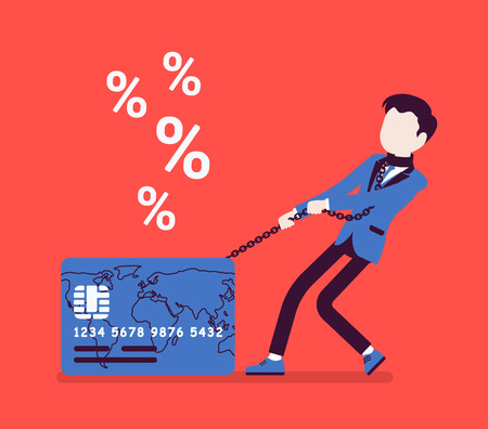 Credit card, male cardholder percentage rate problem. Man frustrated with card debt burden, consumer in difficult financial situation unable to pay. Vector illustration with faceless characters
