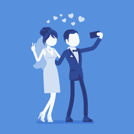 Newlywed taking selfie by phone. Just married happy young man and woman on wedding day ceremony make a photograph with a smartphone or webcam by themselves. Vector illustration, faceless characters