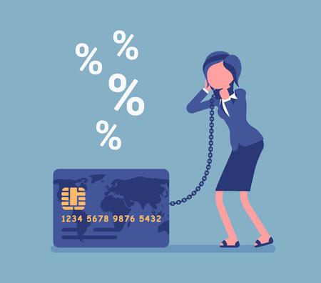 Kreditkarte, Problem mit dem Prozentsatz des weiblichen Karteninhabers. Frau frustriert über schwerste Kartenschulden, Verbraucher, schwierige finanzielle Situation, die nicht zahlen kann. Vektorillustration, gesichtslose Charaktere