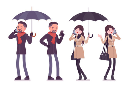 Stylish man and woman with umbrella and phone in autumn clothes, classic short coat and accessories. Fall outfits for men and women. Vector flat style cartoon illustration isolated on white background
