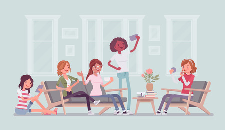 Gathering of women for hen party or fun. Group of female friends hang out at home, enjoy music, drink, socialize, attractive girls relax in amusement, enjoyment. Vector flat style cartoon illustration Ilustração