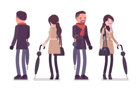 Stylish man and woman with umbrella, wearing autumn clothes, classic short coat and accessories. Fall outfits for men and women. Vector flat style cartoon illustration isolated on white background
