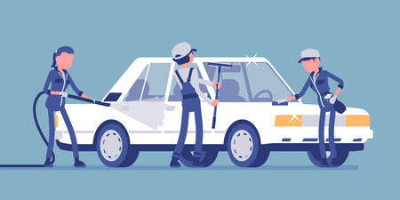 Car hand wash full-service and young employees. Workers in uniform clean, wash and polish vehicle exterior with professional equipment, automobile business. Vector illustration, faceless characters