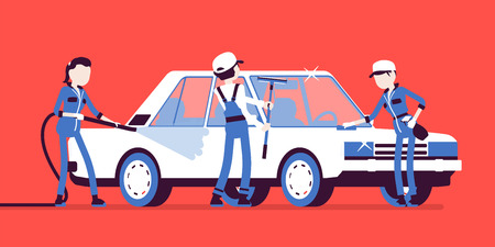 Car hand wash full-service and young employees. Workers in uniform clean, wash and polish vehicle exterior with professional equipment, automobile business. Vector illustration, faceless characters Vektoros illusztráció