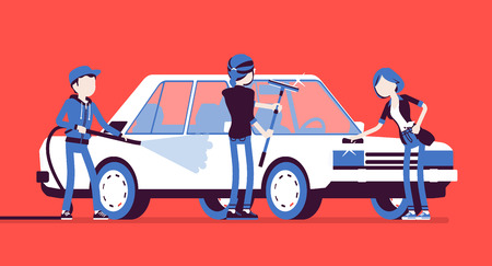 Car hand wash self-service facilities, young people. Volunteers or family clean, polish together vehicle exterior with tools at automobile service station. Vector illustration, faceless characters Stock Illustratie