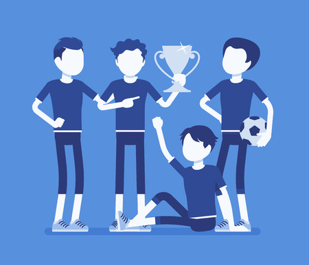 Junior football, soccer players team winner. Group of boys in uniform after game, professional footballer club with prize, happy guys enjoy sport achievement. Vector illustration, faceless characters