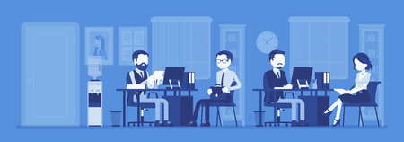 Office business workspace, hr manager interviewing job applicant, company staff working. Busy employees sitting at tables with computers, phones, meet clients. Vector illustration, faceless characters 일러스트