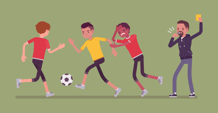 Football referee holds up a yellow card for team player. Official showing penalty sign of breaking the soccer game rules, making a warning on match with whistle. Vector flat style cartoon illustration