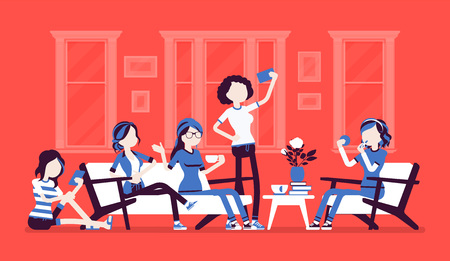 Gathering of women for hen party or fun. Group of female friends hang out at home, enjoy music, drink, socialize, girls relax in amusement, enjoyment. Vector illustration, faceless characters