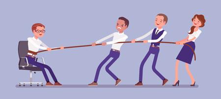 Aus der Komfortzone ausbrechen, um persönliches Wachstum zu erzielen. Team von Menschen, die versuchen, einen Mann mit neutraler Position mit Mühe aus einer gemütlichen Umgebung zu ziehen, in der er sich wohl und sicher fühlt. Vektor-Illustration