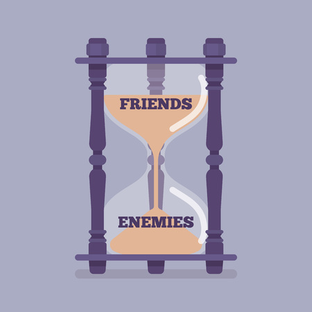 Hourglass device measures the passage of friends into enemies
