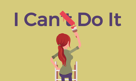 I can do it motivational poster. Woman correcting negative grammatical construction into positive statement to express enthusiasm and will for doing something, desire and energy. Vector illustration Иллюстрация