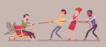 Breaking out of comfort zone to get personal growth. Team of people trying to pull with effort a man with neutral position from cozy home environment, where he feels at ease, safe. Vector illustration