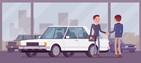 Dealer in car showroom displays vehicle for sale. Male automobile seller and customer makes an agreement in sales agency, man buying new auto, business deal in shop, loan approve. Vector illustration Vector Illustratie