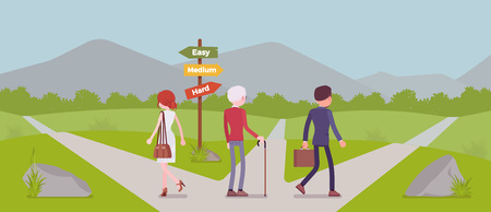 People choosing a path, way, life direction. Three people pick out alternatives between easy, medium, hard road pointers, decide on possibilities, management and guidance metaphor. Vector illustration Standard-Bild - 116632759