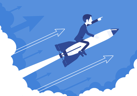 Businessman go high to success on rocket. Leader moving company to the top, profitable strategy for developing in right direction. Business motivation concept. Vector illustration, faceless characters
