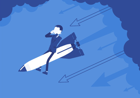 Businessman in despair go down on rocket. Business start-up, company new project ends in failure, financial mistakes. Problem solving, risk management concept. Vector illustration, faceless characters