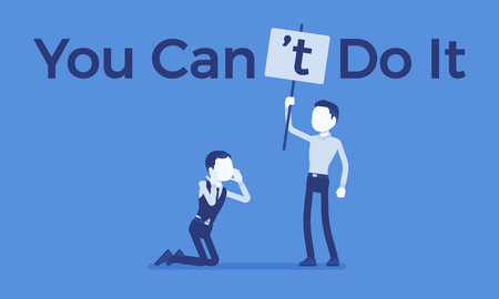You can not do it poster. Man correcting positive grammatical construction into negative statement to suppress enthusiasm, confidence, boss showing disbelief. Vector illustration, faceless characters