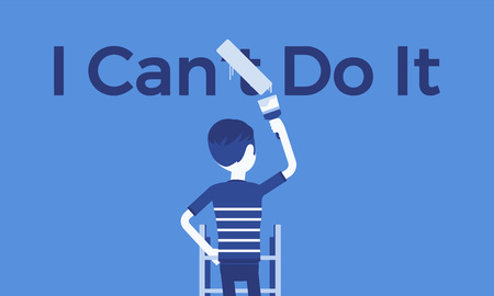 I can do it motivational poster. Man correcting negative grammatical construction into positive statement to express enthusiasm and will for doing something, desire and energy. Vector illustration