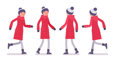 Stylish woman in long red down jacket walking and running, wearing soft warm winter clothes, snow boots, hat. Women outfit concept. Vector flat style cartoon illustration isolated on white background Иллюстрация