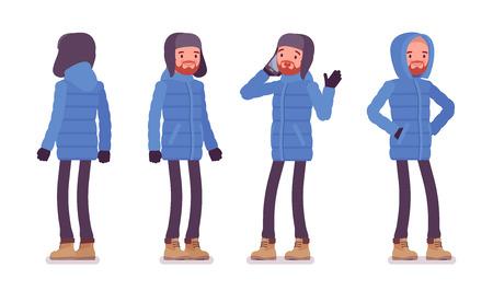 Homme élégant dans une doudoune bleue debout, portant des vêtements d'hiver doux et chauds, des bottes de neige jaunes classiques et un chapeau. Concept de tenue pour hommes. Illustration de dessin animé de style plat vecteur isolé sur fond blanc